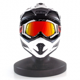 a5b9f695f ... Óculos Capacete Cross / Off-Road Texx Raider MX Lente Iridium -  Preto/Branco